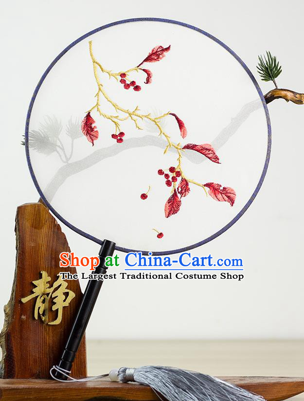 Chinese Traditional Hanfu Embroidered Red Leaf Palace Fans Ancient Princess Dance Silk Round Fan for Women