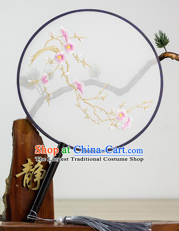 Chinese Traditional Hanfu Embroidered Plum Palace Fans Ancient Princess Dance Silk Round Fan for Women