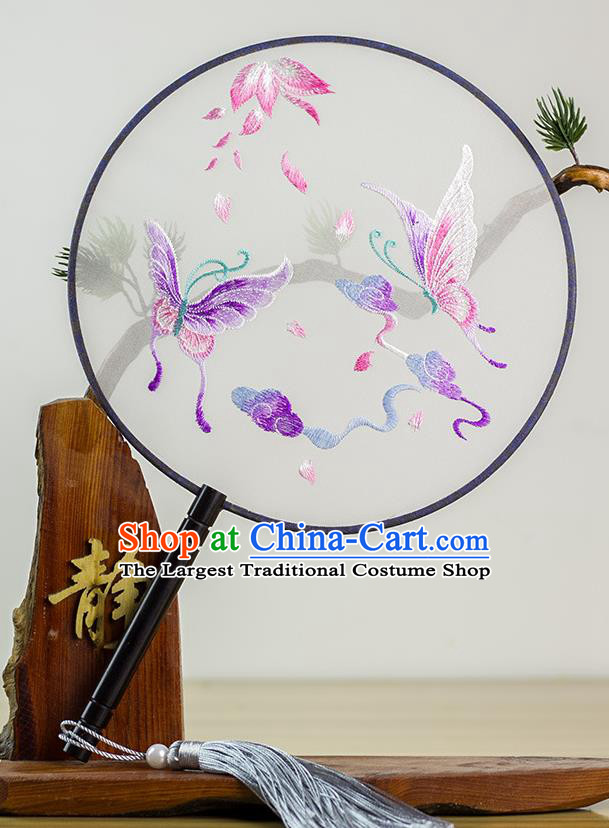 Chinese Traditional Hanfu Embroidered Butterfly Palace Fans Ancient Princess Dance Silk Round Fan for Women