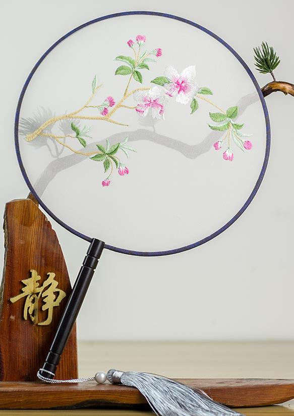 Chinese Traditional Hanfu Embroidered Begonia Palace Fans Ancient Princess Dance Silk Round Fan for Women