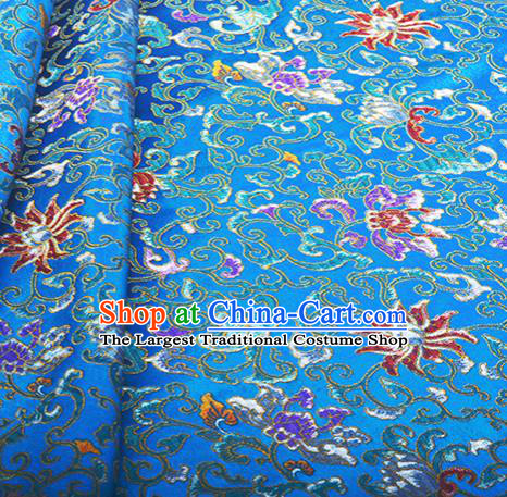 Chinese Traditional Hanfu Silk Fabric Classical Lotus Pattern Design Blue Brocade Tang Suit Fabric Material