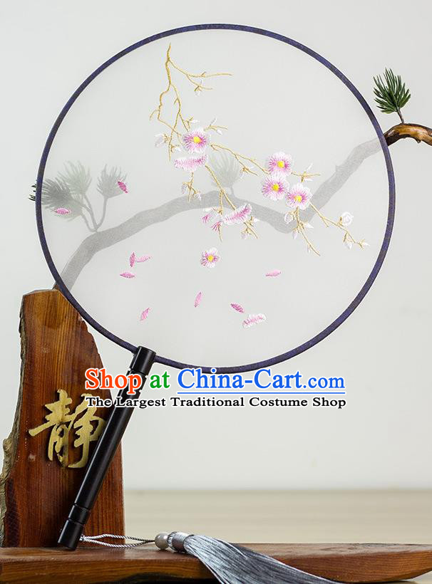 Chinese Traditional Hanfu Embroidered Flowers Palace Fans Ancient Princess Dance Silk Round Fan for Women