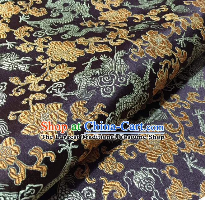 Chinese Traditional Dragons Pattern Design Deep Purple Brocade Fabric Asian Silk Fabric Chinese Fabric Material