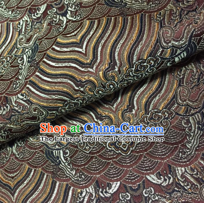 Chinese Traditional Sea Wave Pattern Design Brown Brocade Fabric Asian Silk Fabric Chinese Fabric Material