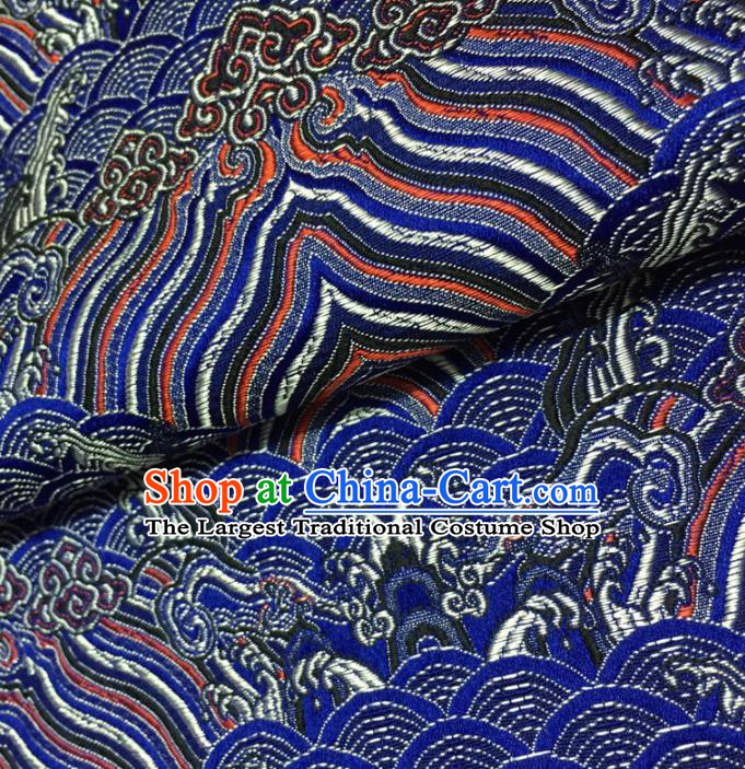Chinese Traditional Sea Wave Pattern Design Royalblue Brocade Fabric Asian Silk Fabric Chinese Fabric Material