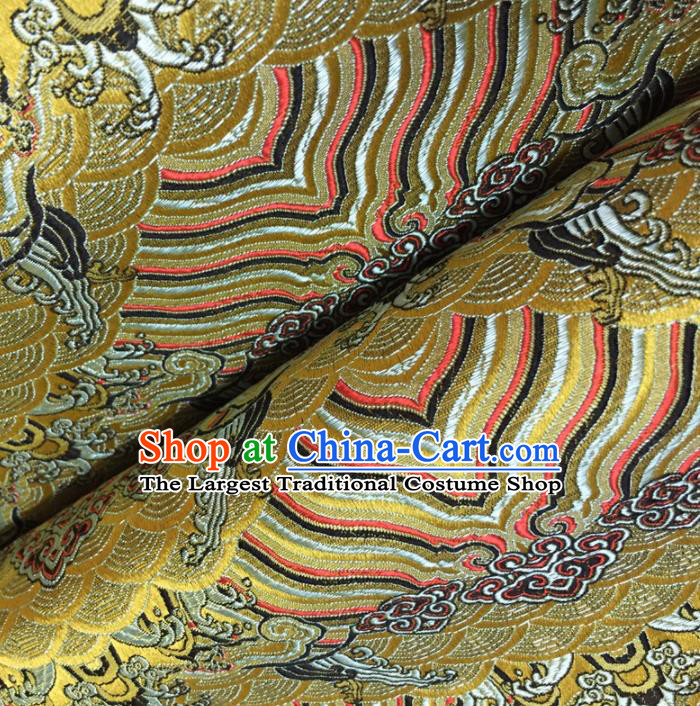 Chinese Traditional Sea Wave Pattern Design Golden Brocade Fabric Asian Silk Fabric Chinese Fabric Material