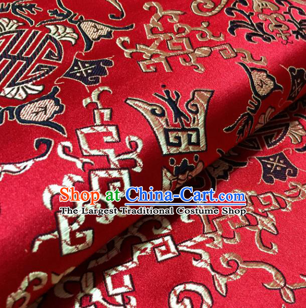 Chinese Traditional Chimes Pattern Design Red Brocade Fabric Asian Silk Fabric Chinese Fabric Material