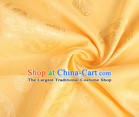 Chinese Classical Round Dragon Pattern Design Yellow Brocade Traditional Hanfu Silk Fabric Tang Suit Fabric Material