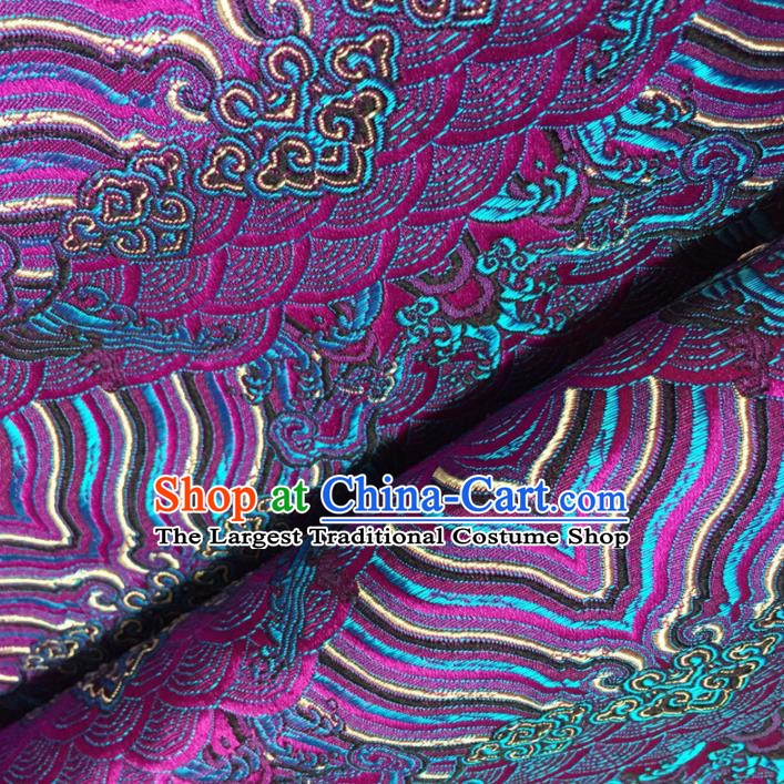 Chinese Traditional Sea Waves Pattern Design Purple Brocade Fabric Asian Silk Fabric Chinese Fabric Material