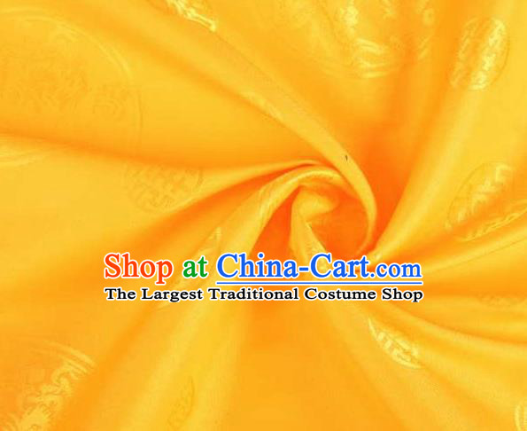 Chinese Classical Round Dragon Pattern Design Golden Brocade Traditional Hanfu Silk Fabric Tang Suit Fabric Material