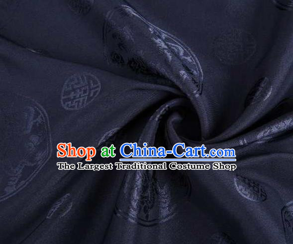 Chinese Classical Round Dragon Pattern Design Navy Brocade Traditional Hanfu Silk Fabric Tang Suit Fabric Material
