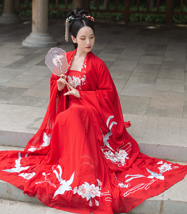 Traditional Chinese Ming Dynasty Wedding Hanfu Dress Ancient Bride Princess Embroidered Historical Costume for Women
