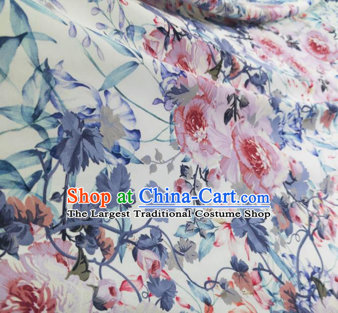 Chinese Traditional Peony Pattern Design White Satin Watered Gauze Brocade Fabric Asian Silk Fabric Material