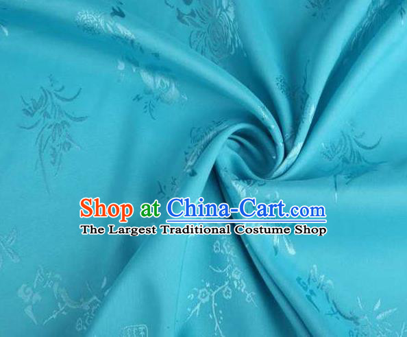 Chinese Classical Bamboo Chrysanthemum Pattern Design Blue Brocade Traditional Hanfu Silk Fabric Tang Suit Fabric Material