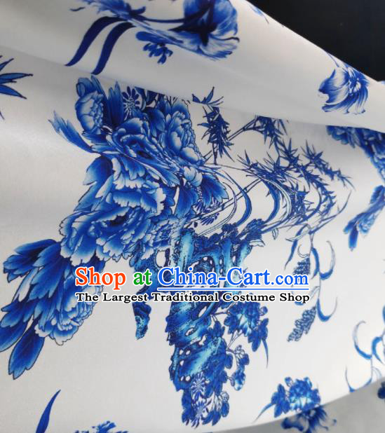Chinese Traditional Peony Bamboo Pattern Design White Satin Watered Gauze Brocade Fabric Asian Silk Fabric Material