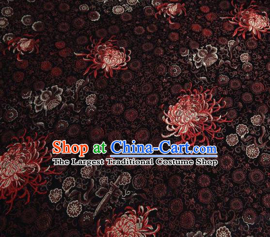 Chinese Classical Chrysanthemum Pattern Design Brown Brocade Asian Traditional Hanfu Silk Fabric Tang Suit Fabric Material