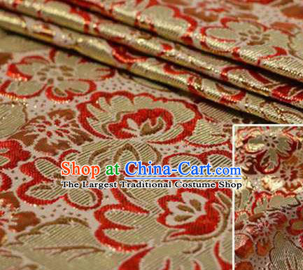 Chinese Classical Begonia Pattern Design Red Brocade Asian Traditional Hanfu Silk Fabric Tang Suit Fabric Material