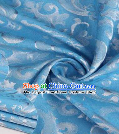 Chinese Classical Didymaotus Pattern Design Blue Brocade Traditional Hanfu Silk Fabric Tang Suit Fabric Material