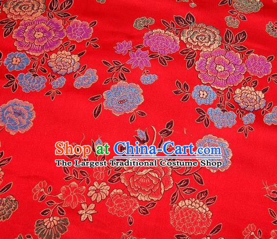 Chinese Classical Peony Pattern Design Red Brocade Asian Traditional Hanfu Silk Fabric Tang Suit Fabric Material