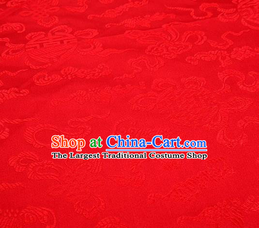 Chinese Classical Ribbon Pattern Design Red Brocade Asian Traditional Hanfu Silk Fabric Tang Suit Fabric Material