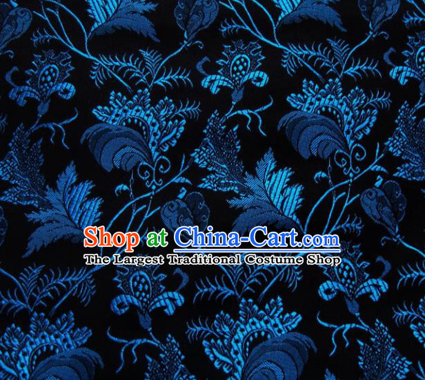 Chinese Classical Leaf Pattern Design Black Brocade Asian Traditional Hanfu Silk Fabric Tang Suit Fabric Material