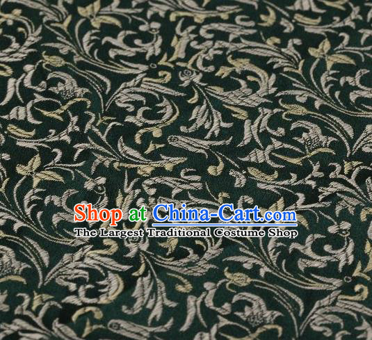 Chinese Classical Scroll Pattern Design Atrovirens Brocade Asian Traditional Hanfu Silk Fabric Tang Suit Fabric Material