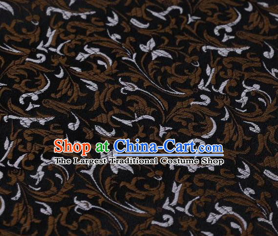 Chinese Classical Scroll Pattern Design Black Brocade Asian Traditional Hanfu Silk Fabric Tang Suit Fabric Material