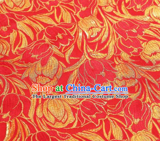 Chinese Classical Tulip Pattern Design Red Brocade Asian Traditional Hanfu Silk Fabric Tang Suit Fabric Material