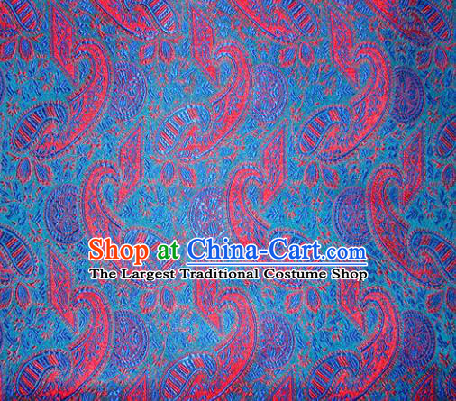 Chinese Classical Pipa Pattern Design Blue Brocade Asian Traditional Hanfu Silk Fabric Tang Suit Fabric Material