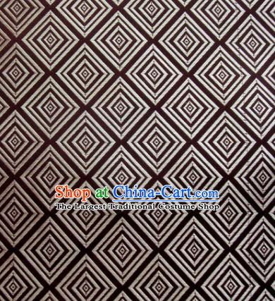 Chinese Classical Rhombus Pattern Design Brown Brocade Asian Traditional Hanfu Silk Fabric Tang Suit Fabric Material