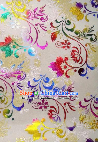 Chinese Classical Pattern Design White Brocade Asian Traditional Hanfu Silk Fabric Tang Suit Fabric Material