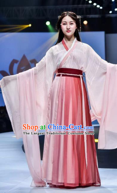 Traditional Chinese Jin Dynasty Princess Embroidered Hanfu Dress Ancient Drama Peri Historical Costume for Women