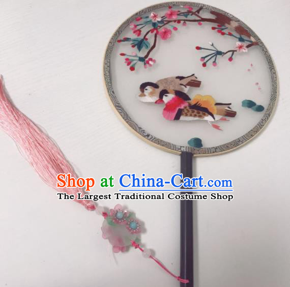 Traditional Chinese Silk Round Fan Hanfu Embroidered Mandarin Duck Palace Fans for Women