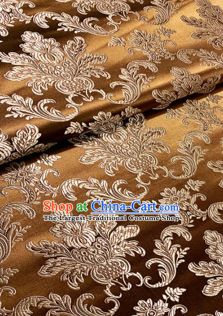 Chinese Classical Pattern Design Bronze Brocade Asian Traditional Hanfu Silk Fabric Tang Suit Fabric Material