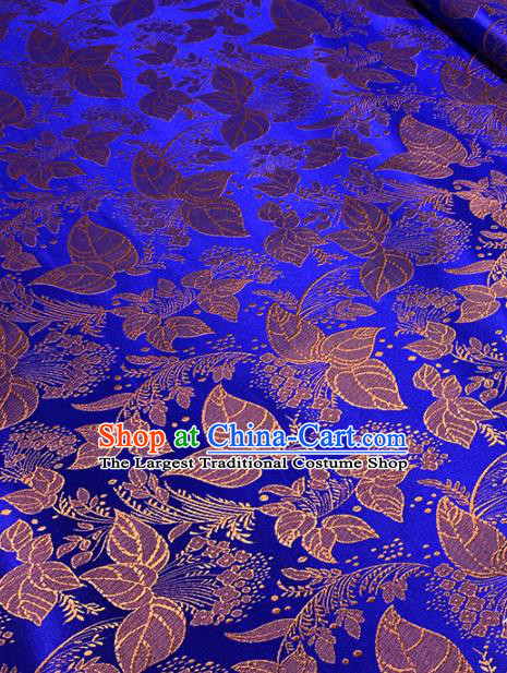 Chinese Classical Leaf Pattern Design Golden Brocade Asian Traditional Hanfu Silk Fabric Tang Suit Fabric Material