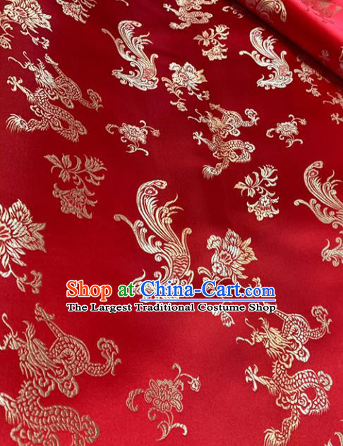 Chinese Classical Dragon Phoenix Pattern Design Red Brocade Drapery Asian Traditional Tang Suit Silk Fabric Material