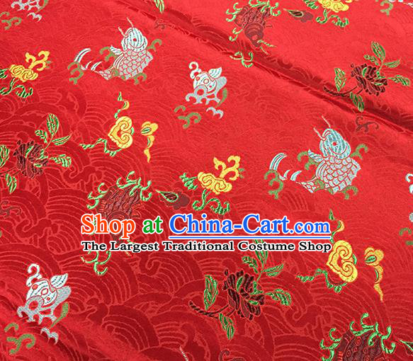 Traditional Chinese Classical Carps Pattern Design Fabric Red Brocade Tang Suit Satin Drapery Asian Silk Material