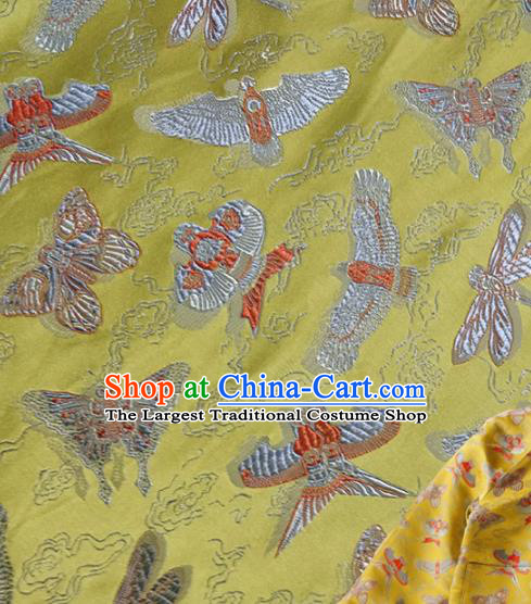 Traditional Chinese Classical Kites Pattern Design Fabric Yellow Brocade Tang Suit Satin Drapery Asian Silk Material