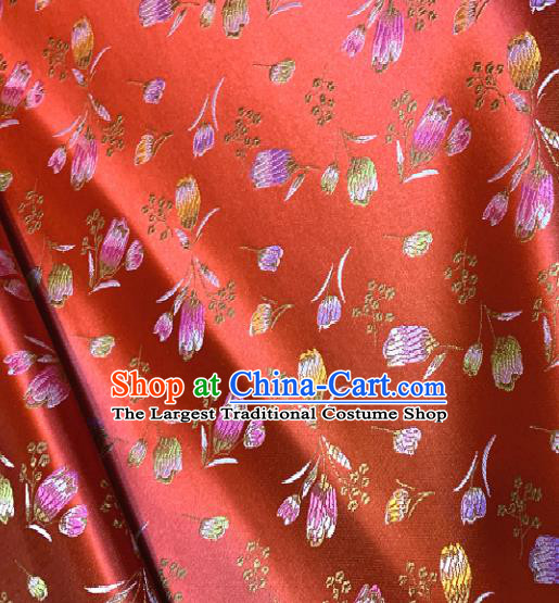 Chinese Classical Red Satin Traditional Tulip Pattern Design Brocade Drapery Asian Tang Suit Silk Fabric Material