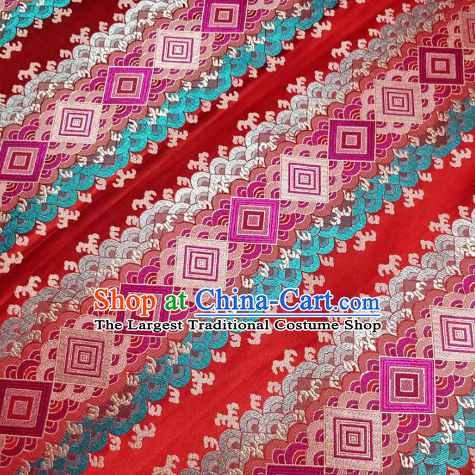Traditional Chinese Classical Pattern Design Fabric Red Brocade Tang Suit Satin Drapery Asian Silk Material