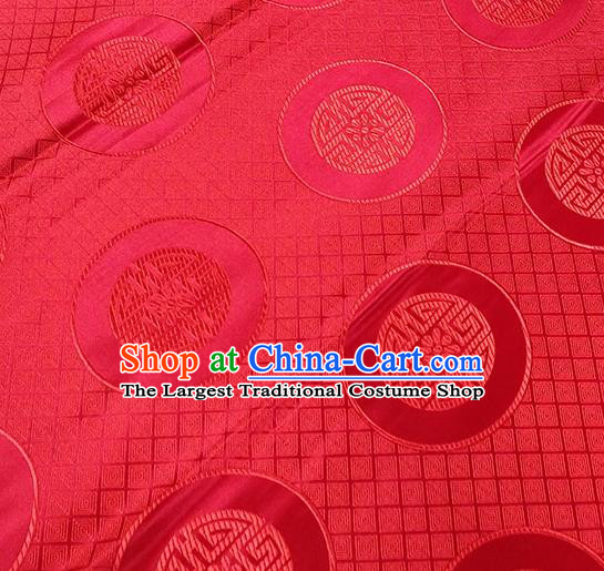 Traditional Chinese Classical Lucky Pattern Design Fabric Red Brocade Tang Suit Satin Drapery Asian Silk Material