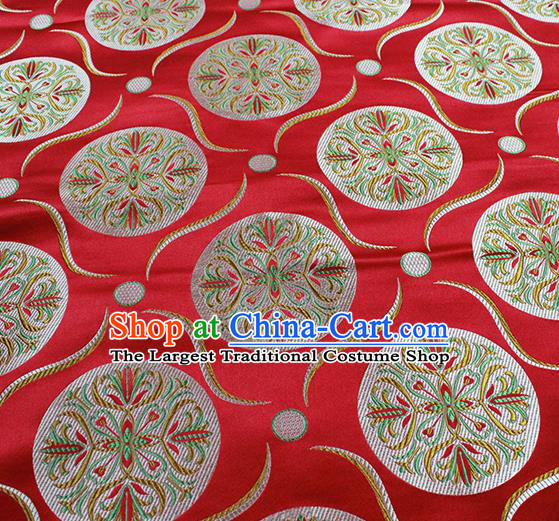 Traditional Chinese Classical Pattern Design Fabric Wedding Red Brocade Tang Suit Satin Drapery Asian Silk Material