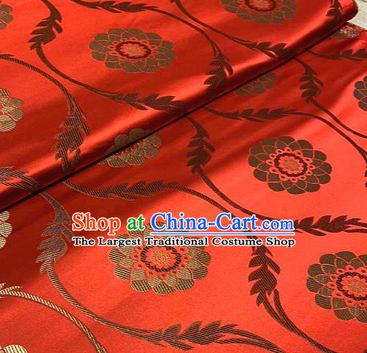 Chinese Traditional Lotus Pattern Design Red Brocade Classical Satin Drapery Asian Tang Suit Silk Fabric Material
