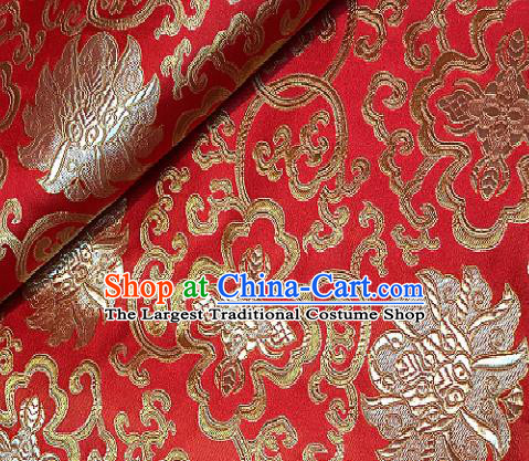 Red Brocade Traditional Chinese Classical Lotus Pattern Design Satin Drapery Asian Tang Suit Silk Fabric Material