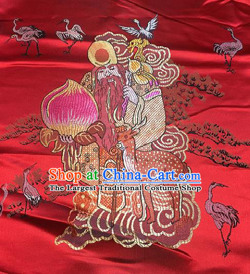 Red Brocade Traditional Chinese Classical Longevity God Pattern Design Satin Drapery Asian Tang Suit Silk Fabric Material