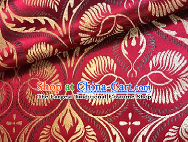 Traditional Chinese Red Brocade Classical Pattern Design Satin Drapery Asian Tang Suit Silk Fabric Material