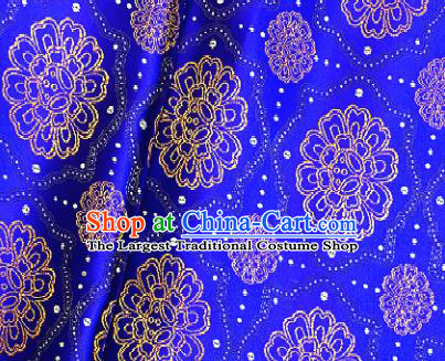 Traditional Chinese Tang Suit Fabric Royalblue Brocade Classical Sunflowers Pattern Design Satin Drapery Asian Silk Material