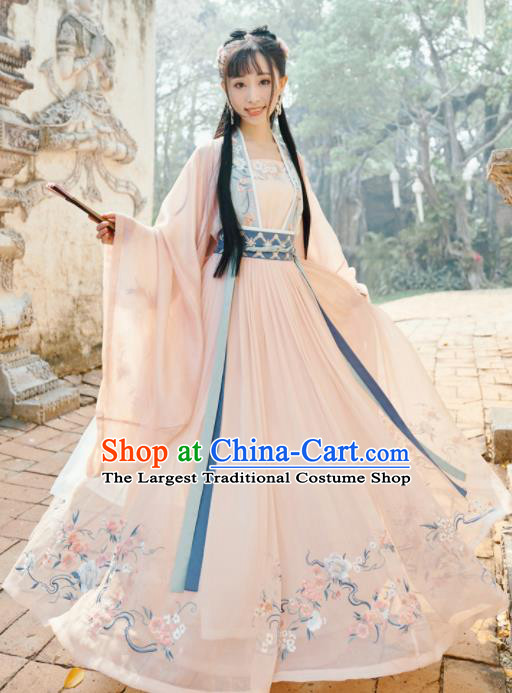 Traditional Chinese Ming Dynasty Princess Embroidered Hanfu Dress Ancient Drama Court Lady Historical Costume for Women
