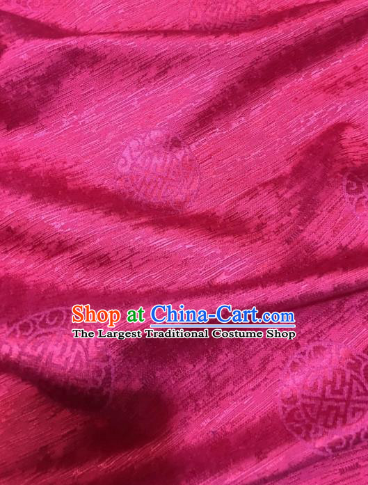 Asian Chinese Classical Pattern Design Wine Red Brocade Fabric Traditional Tang Suit Satin Drapery Silk Material