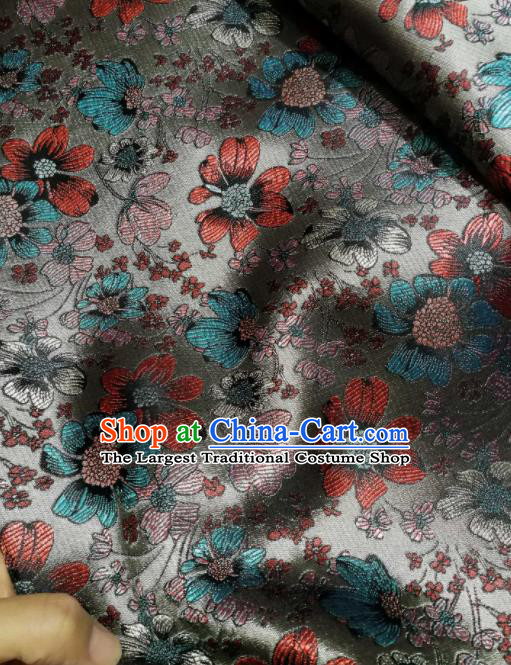 Asian Chinese Classical Flowers Pattern Design Grey Brocade Fabric Traditional Tang Suit Satin Drapery Silk Material